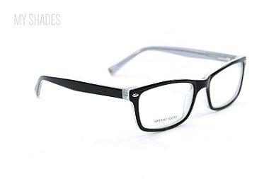 Armação de óculos de grau quadrada preta com wayfarer