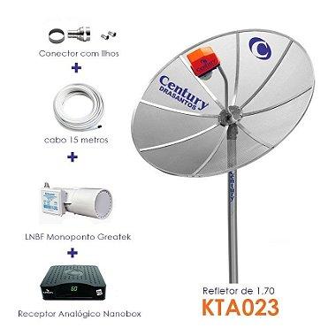 KIT Completo Antena Parabólica 1.70 + Multiponto Greatek + Receptor Analógico - CENTURY