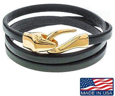 Pulseira masculina de couro Preto com fecho modelo Cobra dourado s / m ( 15,75cm e 17,73cm )