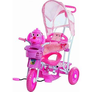 Triciclo Infantil 3 em 1 com Capota Vira Gangorra Cabeça Cachorro Rosa Bel Fix