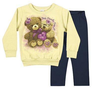 Conjunto com Blusão ( Amarelo ) e Calça em Moletom Felpado e Penteado ( Azul Marinho )