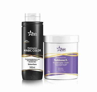 Magic Color Kit Máscara Restauradora Noblesse K. 1kg + Matizador Magic Color - TRADICIONAL - Efeito Prata 500ml