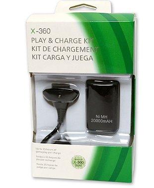 Kit Carregador E Bateria De Controle Do Xbox 360 Completo Branco