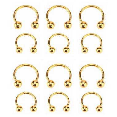 Cartela Com 12 Piercing Para Nariz, orelha, ferradura, Dourado