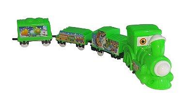 Trem Trenzinho Infantil Movido A Pilha, Ferrovia, Trilhos Amarelo