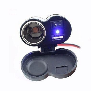 Carregador De Celular Para Moto Com Usb, 12v E 5v Gps Charge