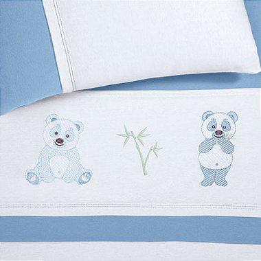 Jogo de Cama Baby Liso Panda Azul Buettner