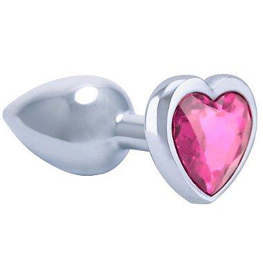 Cor rosa do Plug Anal Metal Cromado Coração