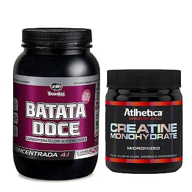 Kit 1 Pote Batata Doce Integral 400gr + 1 Pote Creatina 120g Atlhetica