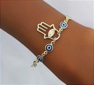 94fde33b415 Colar Mão de Fátima Liso 60 cm Banhado em Ouro18k - Lazzuli Joias ...