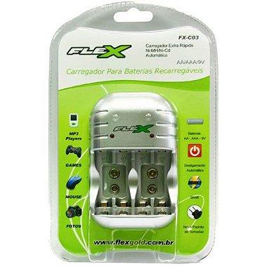 Carregador de Pilhas 4xAA / AAA ou 2 9v bivolt FX - C03 c / 4AA Flex