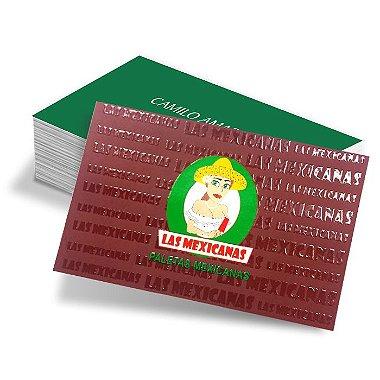 Cartão de Visitas - 48x88mm - Couche Brilho 250g - 4x4 - Verniz Total Brilho Frente e Verso Refile 1000 Unidades