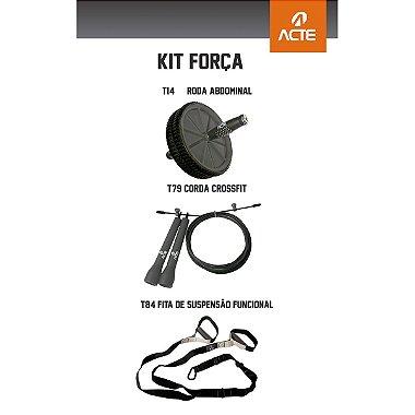 Kit Força: Roda p / Exercícios 19cm Cinza + Corda Crossfit Ajustável - 3m + Fita de Suspensão Funcional s / Ajuste
