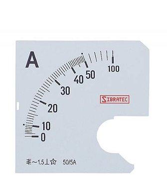 Escala para Amperimetro 72MM 0-50A