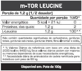 Tabela Nutricional m-Tor Leucine Max Titanium