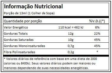 Tabela Nutricional Óleo de Coco Extra Virgem Powe1one