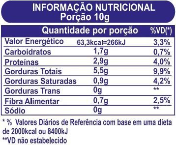 Tabela Nutricional Pasta de Amendoim Integral Power1One