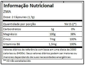 Tabela Nutricional ZMA Black Skull