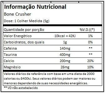 Tabela Nutricional Bone Crusher Black Skull