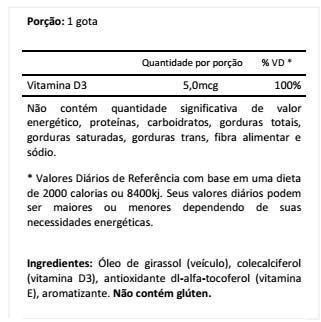 Tabela Nutricional Vitamina d3 Max titanium