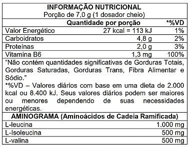 Tabela Nutricional BCAA 2:1:1 Atlhetica Nutrition