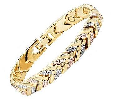 Pulseira masculina magnética, pulseira masculina de aço, pulseira masculina banhada a ouro