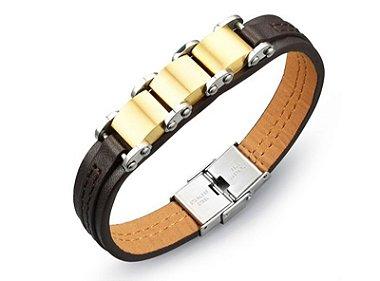 pulseira masculina, pulseira couro, aço escovado
