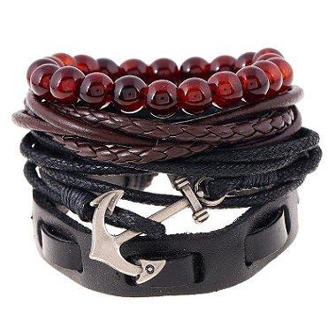 Kit de pulseiras de couro e pedra
