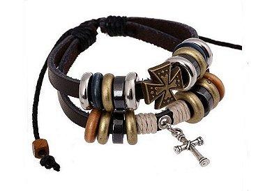 pulseira de couro com cruz, pulseira masculina de couro