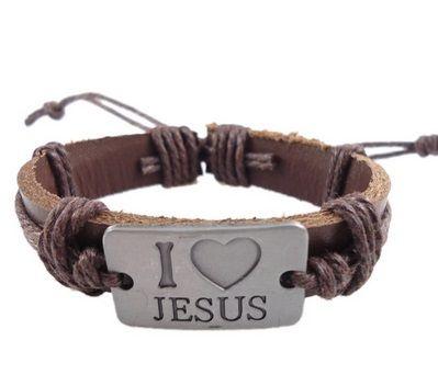 Pulseira de couro, pulseira eu amo Jesus, Pulseira masculina de couro