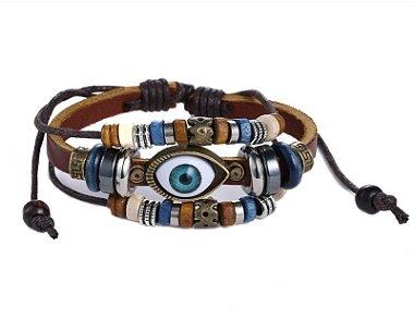 Pulseira masculina com olho turco, pulseira masculina de couro, pulseira de couro
