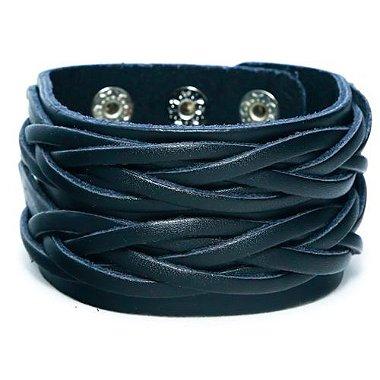 Pulseira larga de couro, pulseira larga masculina, pulseira masculina