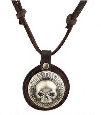 Colar de couro masculino, colar masculino, cordão de couro, pingente skull, pingente caveira