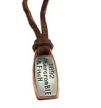 Colar masculino de couro, colar masculino,  colar com placa de identificação, colar de couro