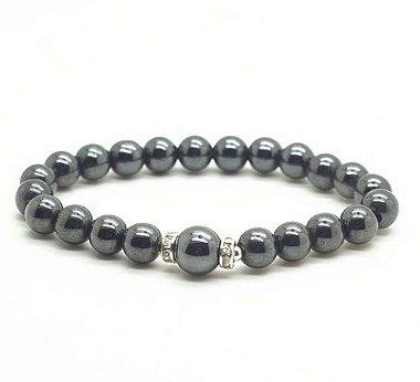 Pulseira Pedra Natural Hematita com Beads
