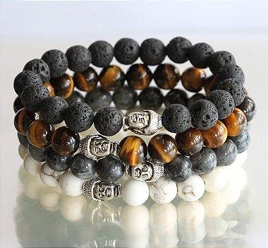 kit de pulseiras de pedra, kit masculino de pulseiras, pulseiras de pedra