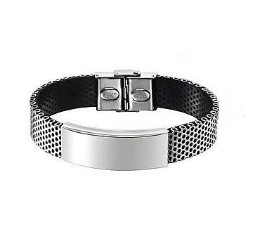 Pulseira masculina de aço, pulseira de aço, pulseira com detalhe em tela