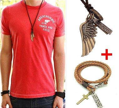 kit colar e pulseira couro, kit acessórios masculinos, pulseira e colar masculino de couro