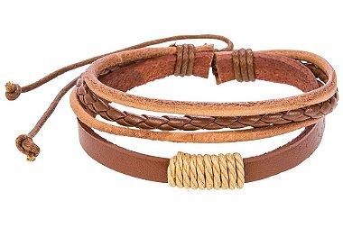 Pulseira masculina de couro, pulseira de couro trançado