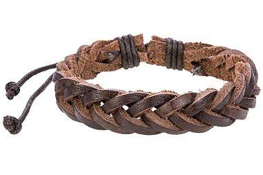 Pulseira de couro natural trançado, pulseira masculina de couro