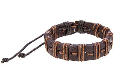 Pulseira de couro com fio encerado, pulseira masculina de couro