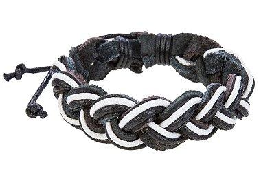 Pulseira de couro legítimo preto e branco, pulseira masculina de couro