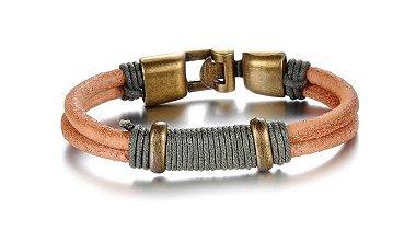 pulseira masculina de couro natural, pulseira masculina com metal bronze