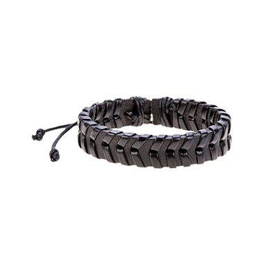 pulseira masculina de couro preto