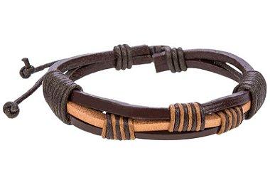 Pulseira de couro marrom, pulseira masculina de couro