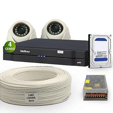 Kit Hdcvi Com 2 Câmeras Interna e Acessórios Completo ( DISCO RÍGIDO OPCIONAL ) HD 500 GB