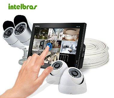 KIT Cftv Dvr Intelbras Touch 4 Câmeras 20 Metros e Acessórios Grátis