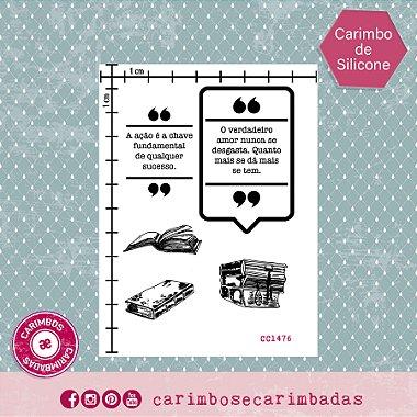 Kit Carimbo de Silicone 9x12 cm Coleção Livros 5 itens