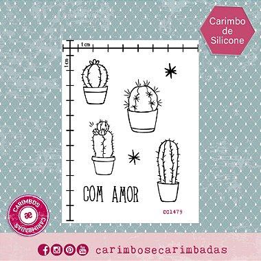 Kit Carimbo de Silicone 9x12 cm Coleção Cactus 5 itens