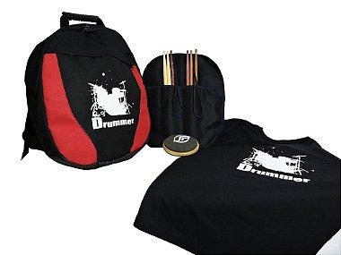 Kit Batera - Mochila Bag para Caixa de bateria / Baquetas / Pad de Estudo / Camiseta e Porta Baquetas Amarelo
